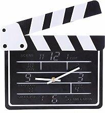 Likeluk Wanduhr Modern Lautlos, Filmklappe Clapperboard Wanduhr Vintage Quartz Wanduhr Schleichende Sekunde ohne Ticken