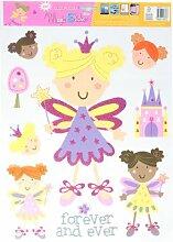 Lila Beige Gelb Glitter Girl Castle Wand Fenster Aufkleber Aufkleber 9in 1