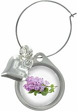 Lila Blume Bild Design Weinglas Anhänger mit schicker Perlen