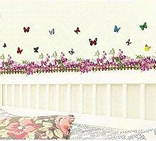 Lila Blume Schmetterling Zaun Vinyl Abnehmbare