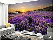 Lila Blumen, 3D Fototapete für Wohnzimmer