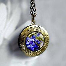 lila Blumen Foto Halskette Medaillon elegant