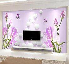 Lila Blumen TV Hintergrund Tapete Wohnzimmer