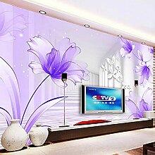 Lila Blumen Weiß Korridor Wandbild