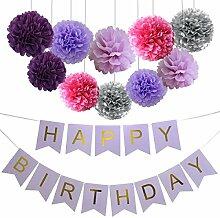 Lila Geburtstag Party Dekoration, Happy Birthday