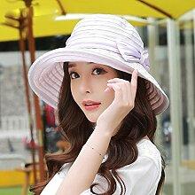 Lila Hut Sommer UV Schutz Kapuzen Streifen Sonnenschutz