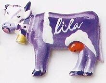 Lila Kuh - Handbemalter Holzmagnet zur Deko, Geschenkidee, Kinderzimmerdeko, Kindermagne