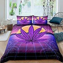 Lila Marihuana Blatt Bettwäsche Tropische Pflanze
