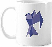 Lila Origami abstraktes Taubenmuster Tasse Keramik