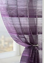 Lila Pflaume Streifen, Voile, halbtransparent Wellenvorhang Fenster:, Polyester, violett, 150x120cm/59x47