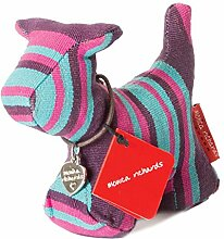Lila Pink Blau Stripe Dog Briefbeschwerer von Monica Richards of London (500 g)