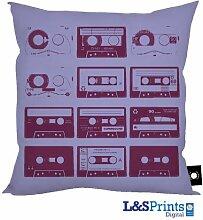 Lila Pop Art Tapes Design Kissen 45,7x 45,7cm hergestellt in Yorkshire tolle Geschenkidee