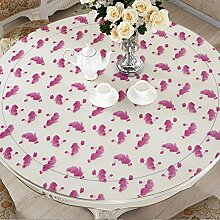 Lila PVC Plastik runden Tisch Tischdecke wasserdichte Tischdecke runden Tuch ( größe : 60 )