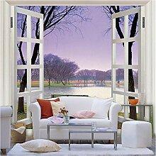 Lila Rahmen Fenster Landschaft 3d Fototapete für