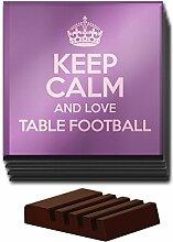 Lila Set von 4Keep Calm und Love Tisch Fußball Glas Untersetzer Farbe 1415