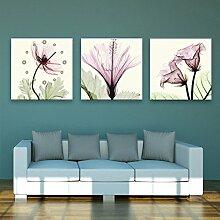 Lila transparente Blumen Wanduhr Rahmenlose Kunst Dekoration Landschaft Blume Leinwand gemalt Wanduhr , 50*50cm