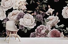 Lila und Rosa Dark Floral Fototapete 250x175CM