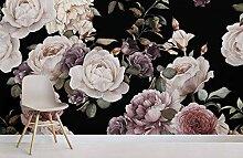 Lila und Rosa Dark Floral Fototapete 300x210CM