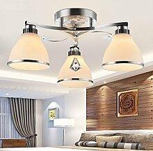 Lilamins Moderne Kristall Deckenleuchte Modern minimalistischen Kunst Kristall Deckenleuchte Wohnzimmer Beleuchtung Schlafzimmer Studie Restaurant, Deckenleuchte 3 Leiter