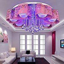 Lilamins Runder Kronleuchter aus Kristall creative Lounge light Led kristall Kronleuchter decke Hochzeit Schlafzimmer idyllisches Licht warm romantischen, weiß, 7 Leiter