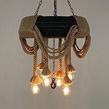 LilaminsThebox der Nordischen kreative Persönlichkeit Sepia Restaurant & Bar Lampen Ornamente Clothing Store Fenster Dekoration Industry Wind Kronleuchter Reifen Lampen sind Dekorative sisal Kronleuchtern, 60 * 110 cm.