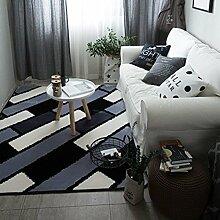 lili Teppich mit weißen und schwarzen Streifen,