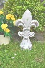 Lilie Keramik Skulptur grau Gartenskulptur Gartenfigur Gartendekoration Deko antik Optik ca. 36cm