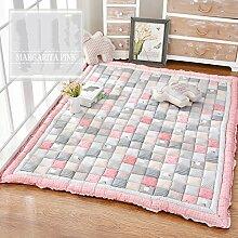 lililili Kriechende Matte Baumwolle Baby,Verdicken Sie Cartoon Spielen Sie Teppich Kinder Schlafzimmer Decor Wohnzimmer teppiche-Anti-Rutsch Kriechen matratze Tatami-Rosa 65x180cm(26x71inch)