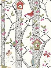Lilleby 2652 Vliestapete Kinder Kirschbaum mit Vögeln Rot Blau Grün