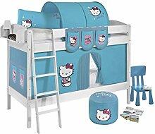 Lilokids Etagenbett IDA 4105 Hello Kitty, Teilbares Systembett mit Vorhang und Lattenroste Kinderbett, Holz, türkis, 208 x 98 x 150 cm