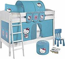 Lilokids Etagenbett IDA 4106 Hello Kitty, Teilbares Systembett mit Vorhang und Lattenroste Kinderbett, Holz, türkis, 208 x 98 x 150 cm