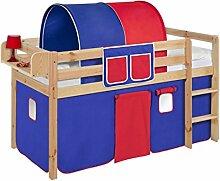 Lilokids JELLE2054KN-BLAU-ROT Spielbett Jelle, Hochbett mit Vorhang Kinderbett, Holz, blau / rot, 208 x 98 x 113 cm