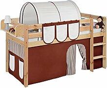 Lilokids JELLE2054KN-BRAUN-BEIGE-S Spielbett Jelle, Hochbett mit Vorhang Kinderbett, Holz, braun / beige, 208 x 98 x 113 cm