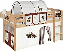 Lilokids JELLE2054KN-DINOS-BRAUN Spielbett Jelle Dinos, Hochbett mit Vorhang Kinderbett, Holz, braun / beige, 208 x 98 x 113 cm