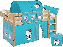 Lilokids JELLE2054KN-HELLOKITTY-T Spielbett Jelle Hello Kitty, Hochbett mit Vorhang Kinderbett, Holz, türkis, 208 x 98 x 113 cm