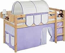 Lilokids JELLE2054KN-LILA-BEIGE-S Spielbett Jelle, Hochbett mit Vorhang Kinderbett, Holz, lila / beige, 208 x 98 x 113 cm