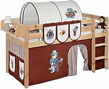 Lilokids JELLE2054KN-PIRAT-BRAUN-S Spielbett Jelle Pirat, Hochbett mit Vorhang Kinderbett, Holz, braun / beige, 208 x 98 x 113 cm