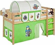 Lilokids JELLE2054KN-PIRAT-GRUEN-S Spielbett Jelle Pirat, Hochbett mit Vorhang Kinderbett, Holz, grün / beige, 208 x 98 x 113 cm