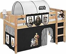 Lilokids JELLE2054KN-SW-SCHWARZ Spielbett Jelle Star Wars, Hochbett mit Vorhang Kinderbett, Holz, schwarz, 208 x 98 x 113 cm