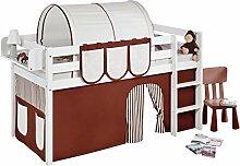 Lilokids JELLE2054KW-BRAUN-BEIGE-S Spielbett Jelle, Hochbett mit Vorhang Kinderbett, Holz, braun / beige, 208 x 98 x 113 cm