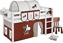 Lilokids JELLE2054KW-PFERDE-BRAUN Spielbett Jelle Pferde, Hochbett mit Vorhang Kinderbett, Holz, braun / beige, 208 x 98 x 113 cm