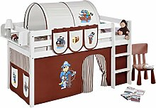 Lilokids JELLE2054KW-PIRAT-BRAUN-S Spielbett Jelle Pirat, Hochbett mit Vorhang Kinderbett, Holz, braun / beige, 208 x 98 x 113 cm