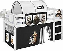 Lilokids JELLE2054KW-SW-SCHWARZ Spielbett Jelle Star Wars, Hochbett mit Vorhang Kinderbett, Holz, schwarz, 208 x 98 x 113 cm