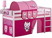 Lilokids Spielbett Jelle Angel Cat Sugar, Hochbett mit Vorhang Kinderbett, Holz, weiß, 208 x 98 x 113 cm