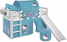 Lilokids Spielbett Jelle Hello Kitty, Hochbett mit Rutsche und Vorhang Kinderbett, Holz, türkis, 208 x 98 x 113 cm