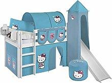 Lilokids Spielbett Jelle Hello Kitty, Hochbett mit Turm, Rutsche und Vorhang Kinderbett, Holz, türkis, 208 x 98 x 113 cm