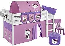 Lilokids Spielbett Jelle Hello Kitty, Hochbett mit Vorhang Kinderbett, Holz, lila, 198 x 98 x 113 cm