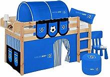Lilokids Spielbett Jelle HSV, Hochbett mit Vorhang Kinderbett, Holz, natur, 208 x 98 x 113 cm