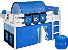 Lilokids Spielbett Jelle HSV, Hochbett mit Vorhang Kinderbett, Holz, weiß, 198 x 98 x 113 cm