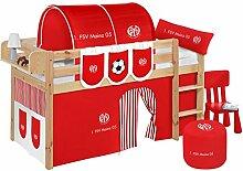 Lilokids Spielbett Jelle Mainz 05, Hochbett mit Vorhang Kinderbett, Holz, natur, 208 x 98 x 113 cm